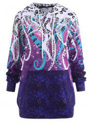 Plus Size Galaxy Octopus Graphic Hoodie -