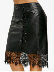 Plus Size Lace-up PU Lace Trim Skirt -