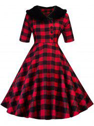 Vintage Plaid Swing Fit and Flare Dress -