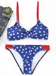 Lace-up Stars Print Bikini Set -