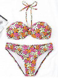 Floral Bandeau Push Up Bikini Set -