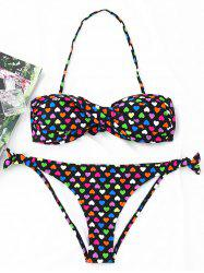 Hearts Print Twist Bandeau Bikini Set -