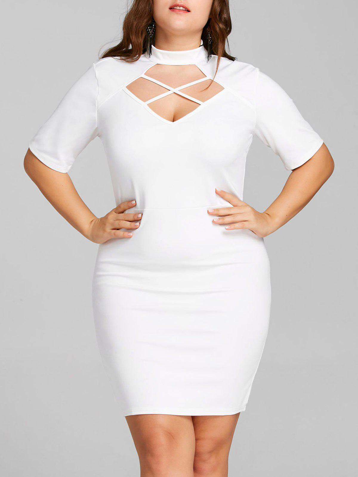 affca281832 2019 Cross Cut Out Plus Size Bodycon Dress