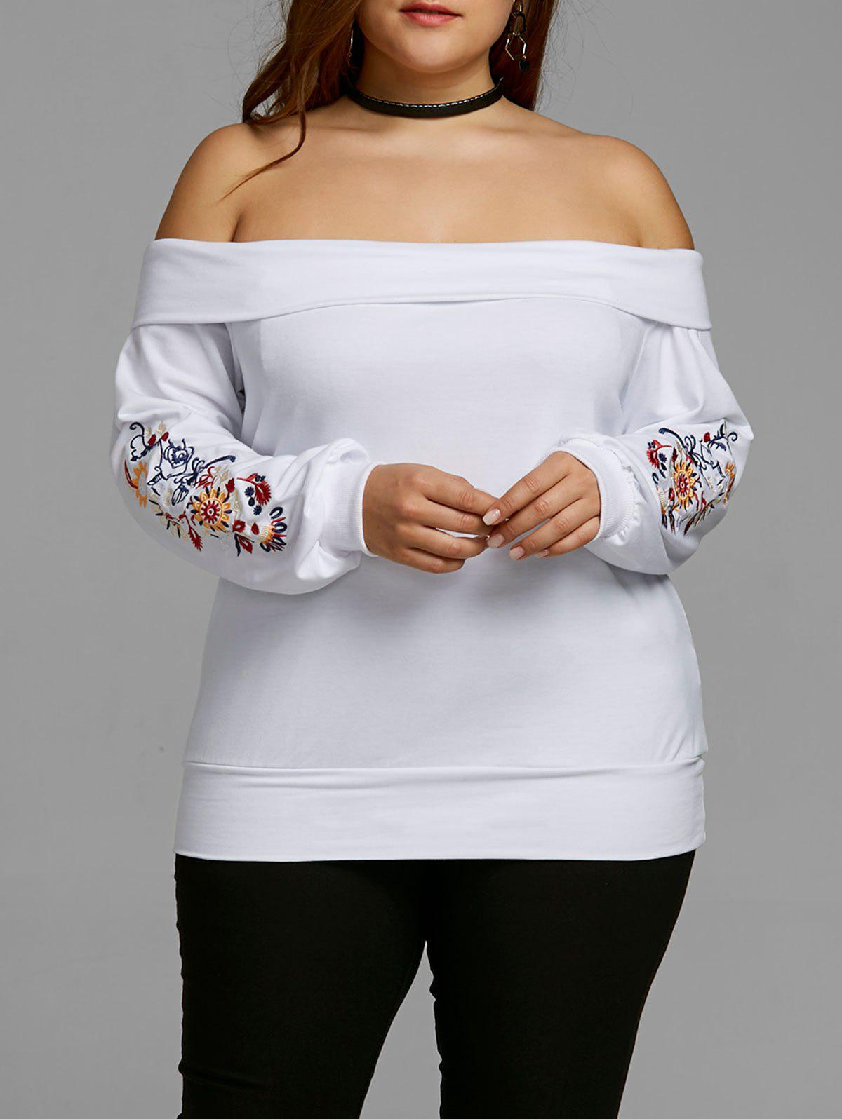 Best Plus Size Embroidery Off Shoulder Top