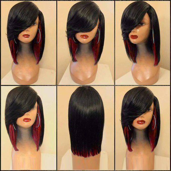 Hot Medium Side Parting Straight Feathered Colormix Synthetic Wig