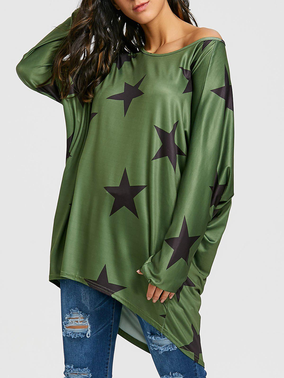 Affordable High Low Star Print Oversized Tunic T-shirt