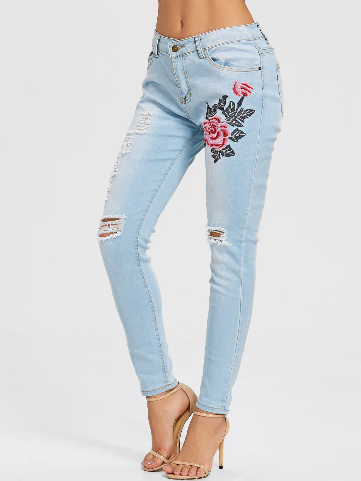Fancy Distressed Floral Embroidery Skinny Jeans