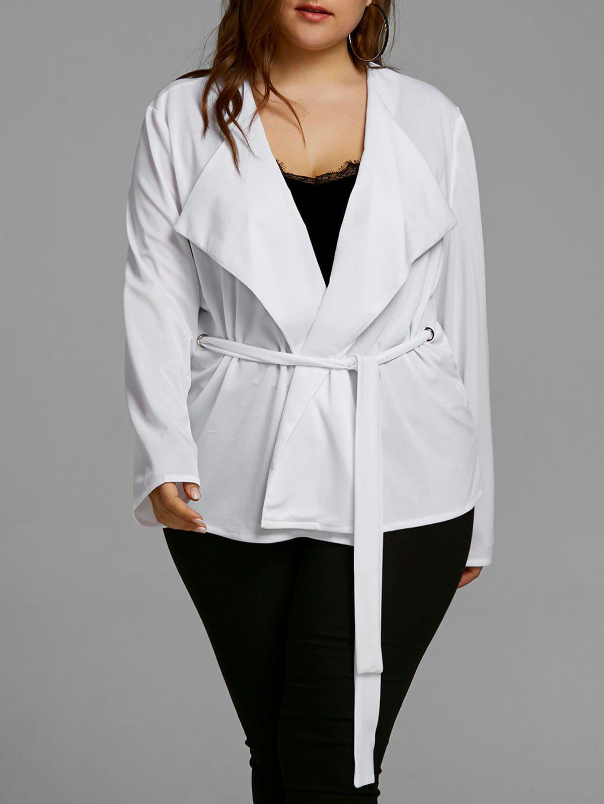 Trendy Plus Size Belted Short Coat