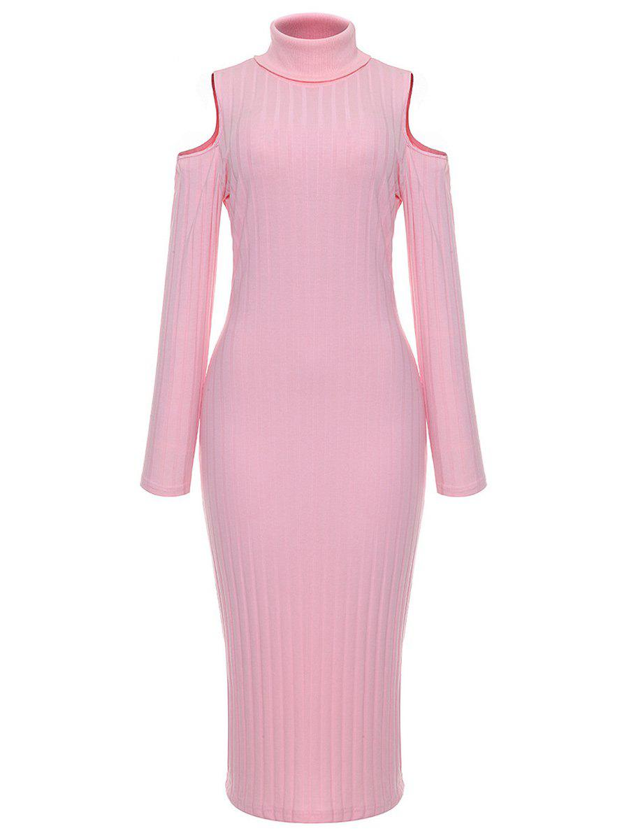 Sale Turtleneck Cold Shoulder Ribbed Sweater Dress