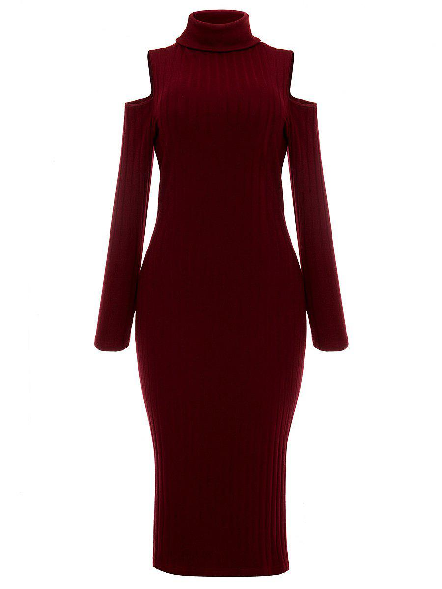 Fashion Turtleneck Cold Shoulder Ribbed Sweater Dress