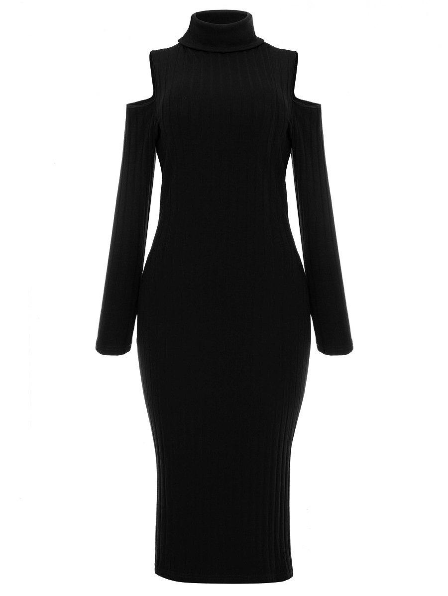 New Turtleneck Cold Shoulder Ribbed Sweater Dress