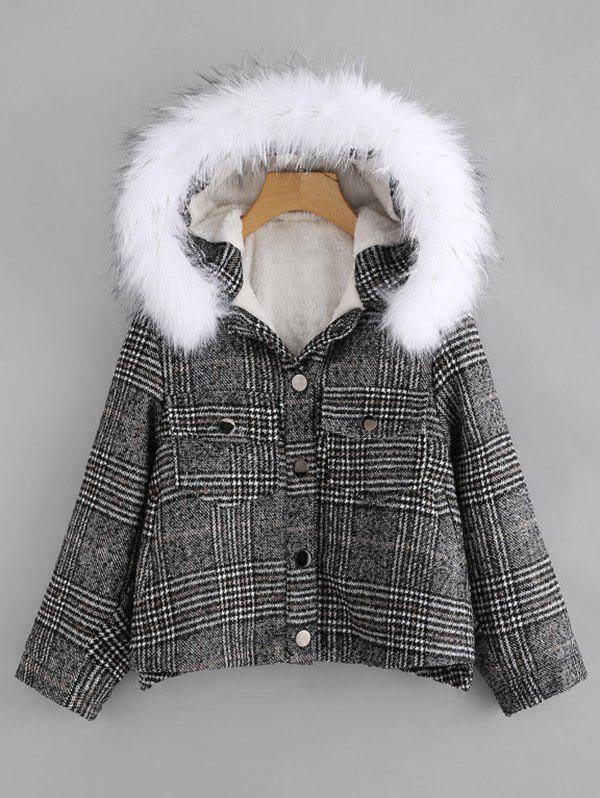 Trendy Front Pockets Plaid Parka Jacket