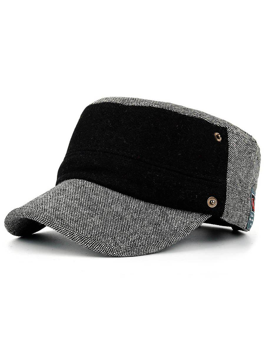 Fashion Simple Label Pattern Embellished Button Military Hat