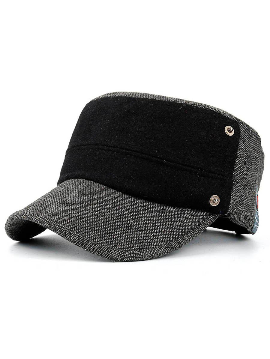 Unique Simple Label Pattern Embellished Button Military Hat
