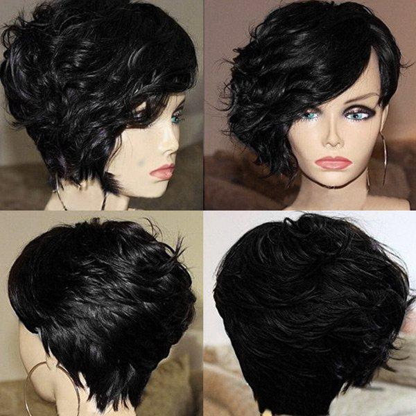 Best Short Side Bang Layered Fluffy Curly Synthetic Wig
