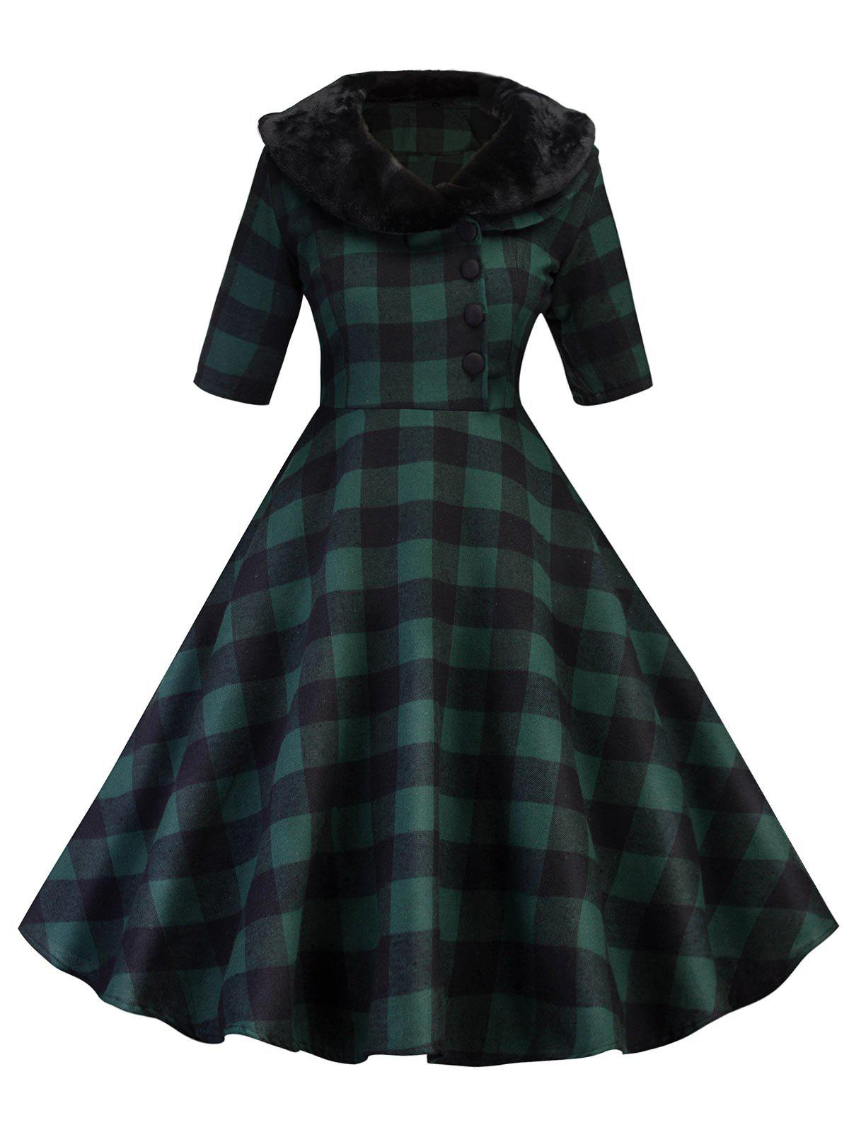 Shop Vintage Plaid Swing Fit and Flare Dress