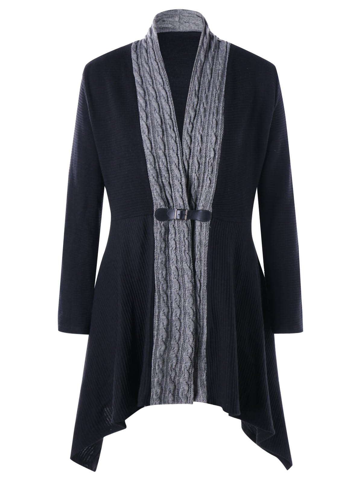 Hot Cable Knit Panel Plus Size Asymmetrical Cardigan