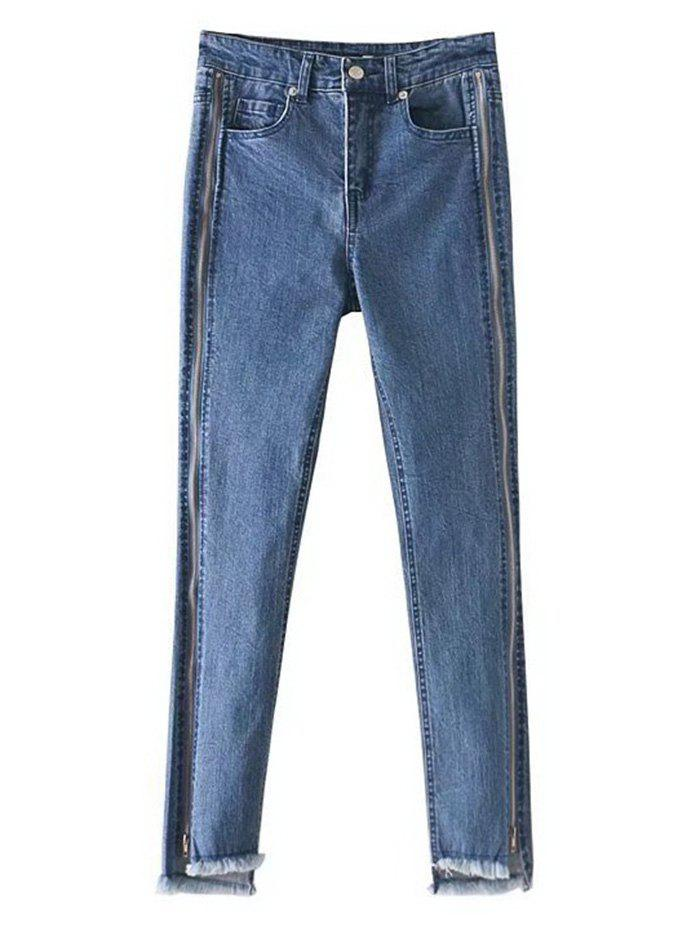Buy Frayed Hem Zippered Pencil Jeans
