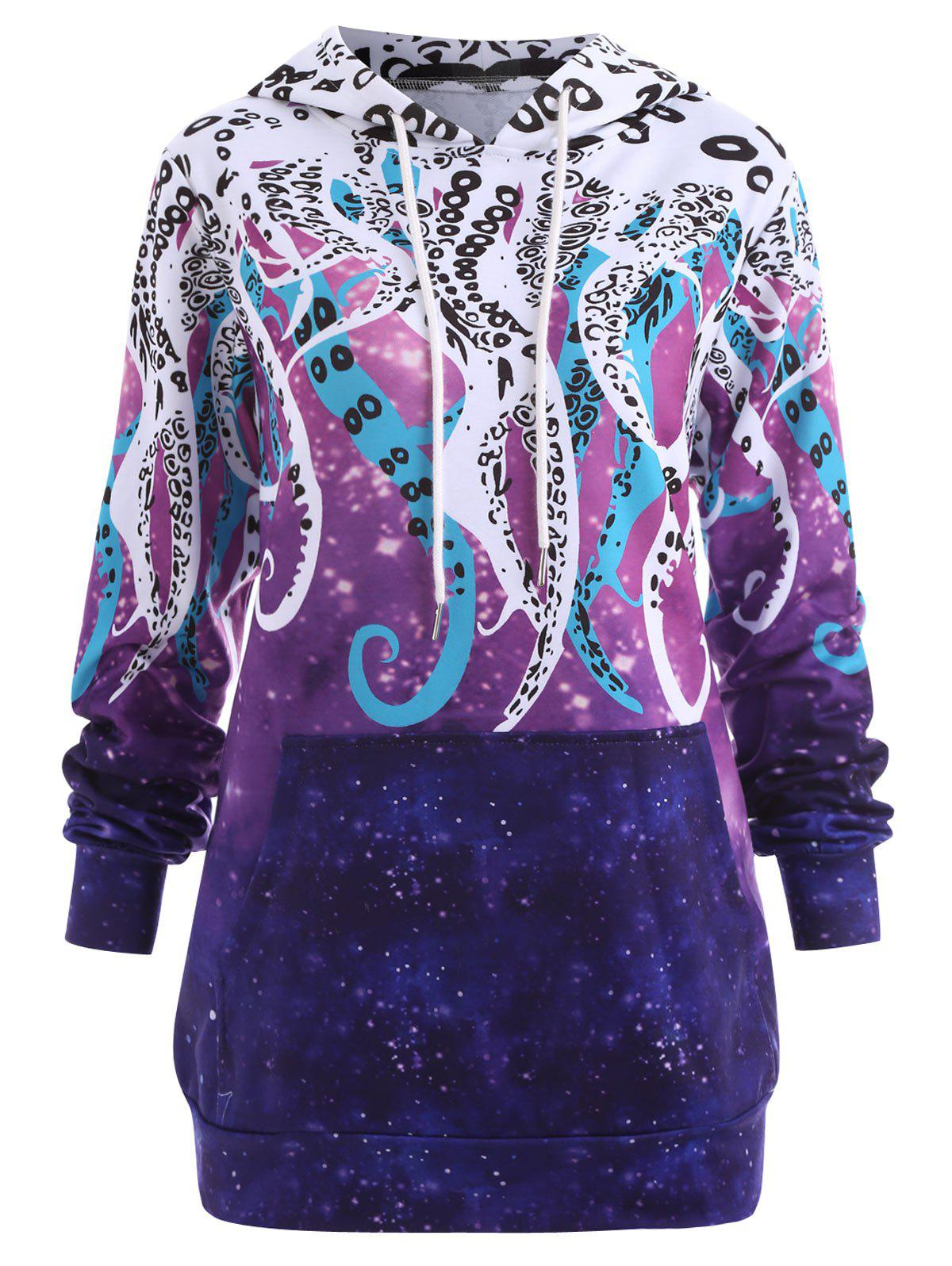 Outfit Plus Size Galaxy Octopus Graphic Hoodie