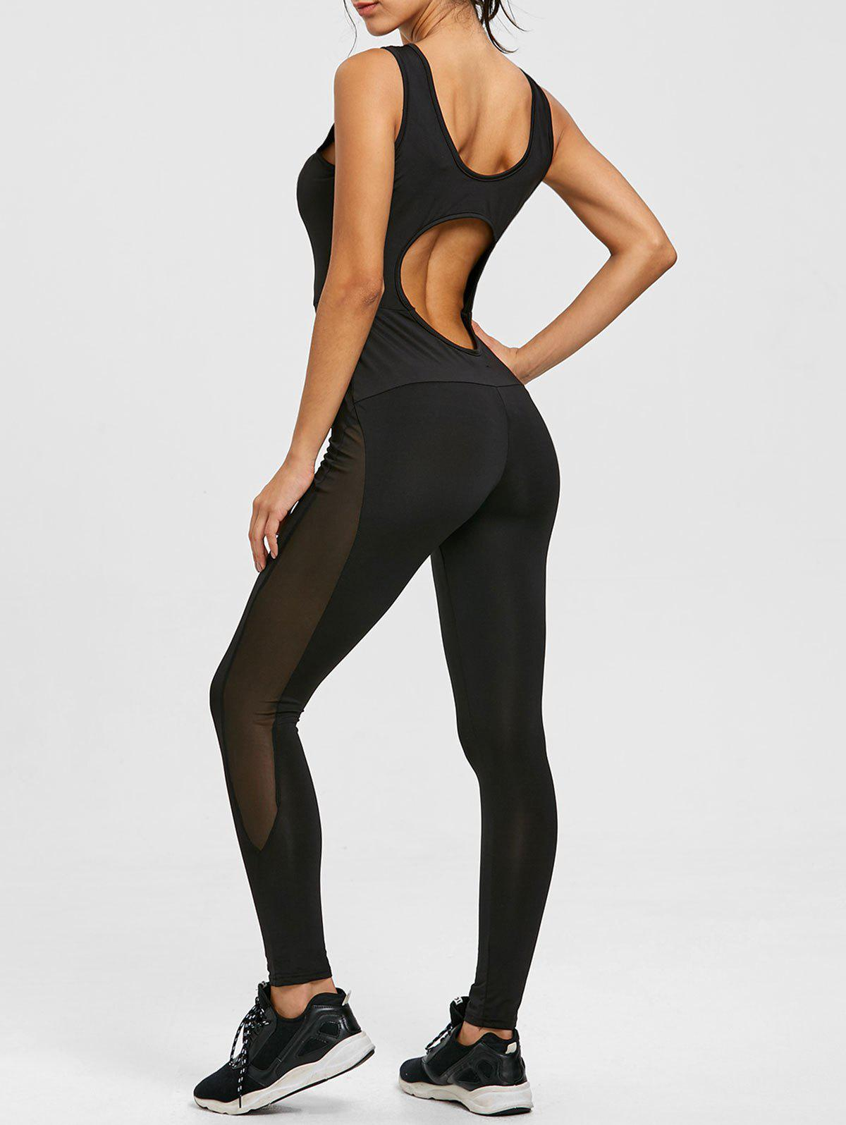 Online Cut Out Mesh Panel See Thru Yoga Jumpsuit