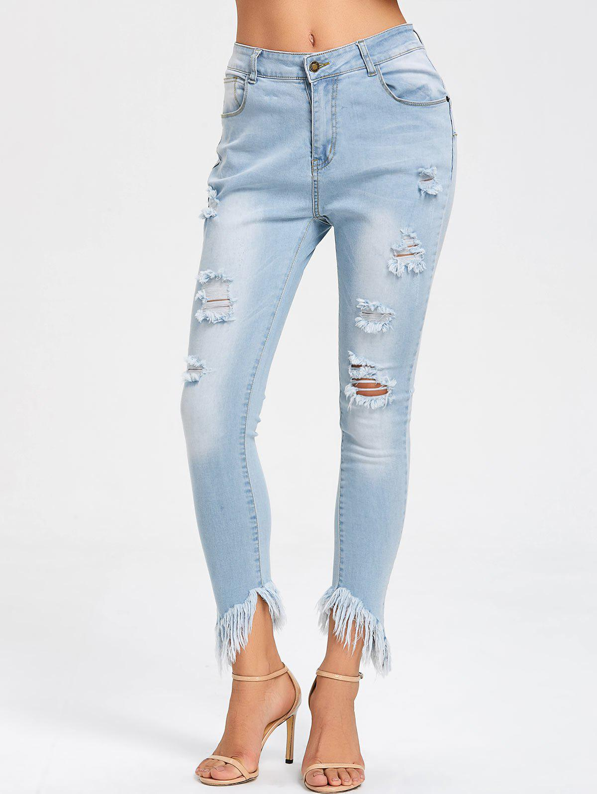 Store Ripped Frayed Hem Skinny Jeans