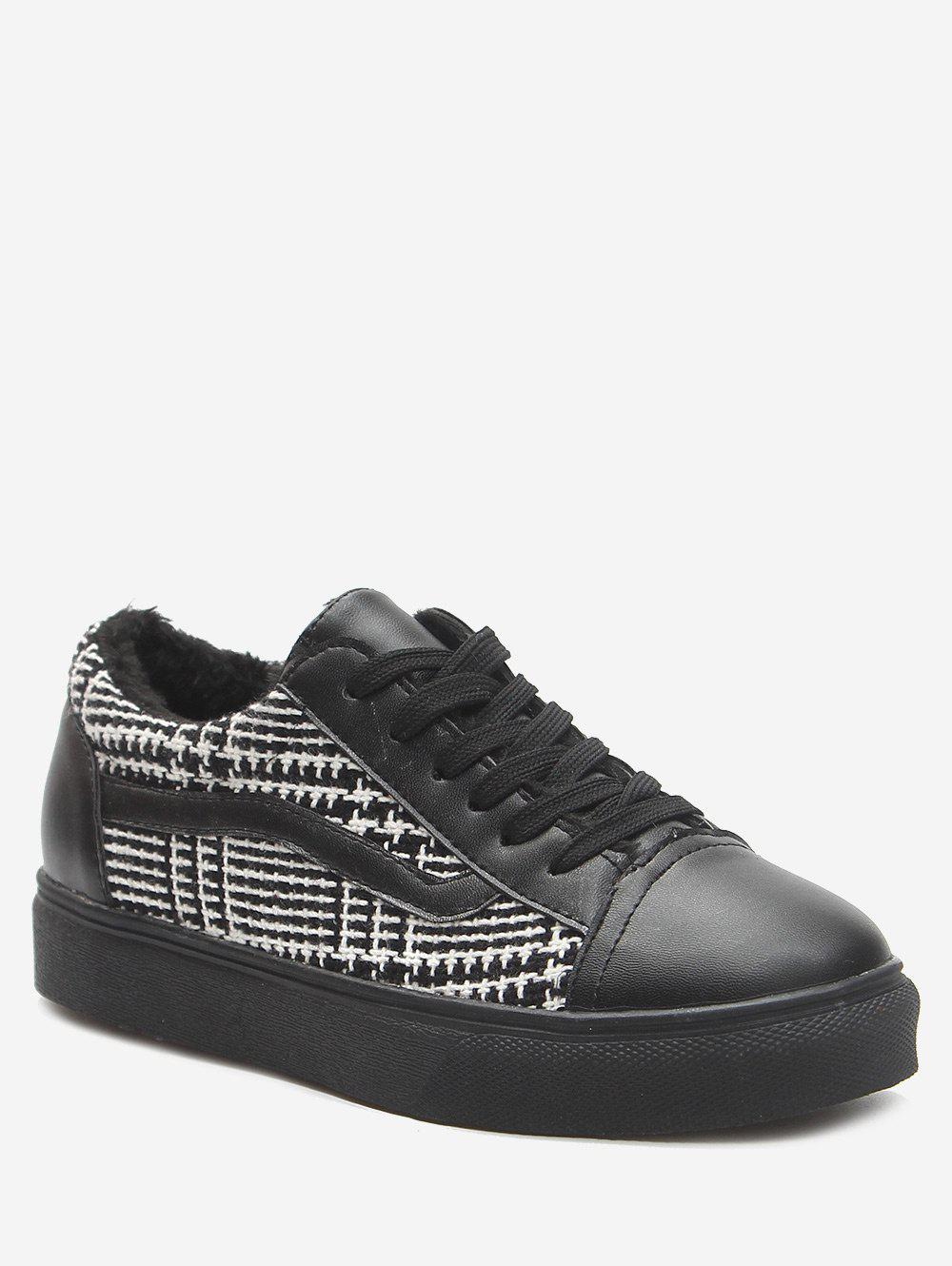Online Color Block Faux Leather Skate Shoes