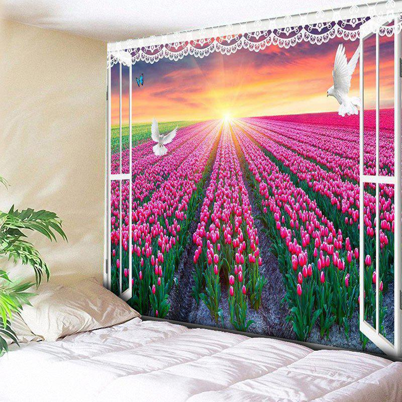 Hot Window Scenery Wall Hanging Flower Field Printed Tapestry