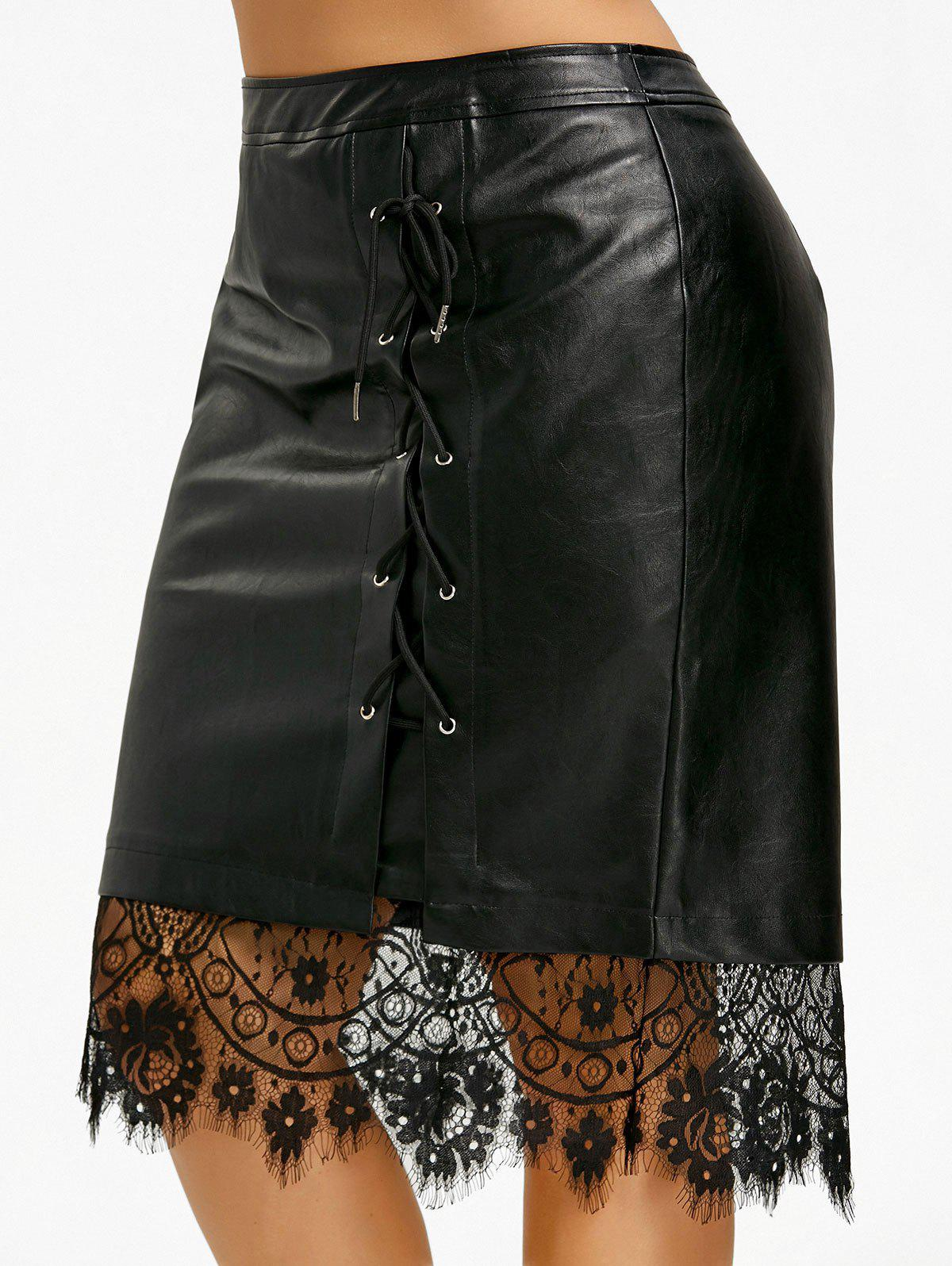Shops Plus Size Lace-up PU Lace Trim Skirt