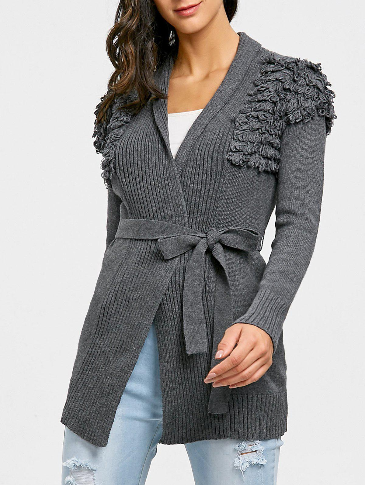 Cheap Wrap Collarless Ribbed Cardigan