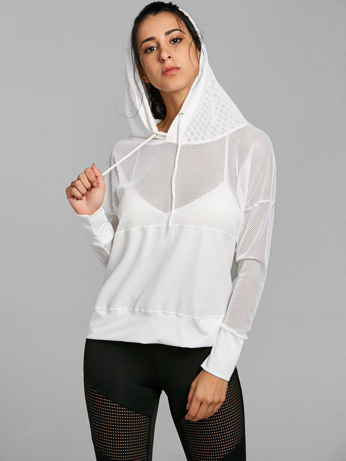 06a2398eab0529 56% OFF   2019 Hooded Mesh Panel Drop Shoulder Sports Top