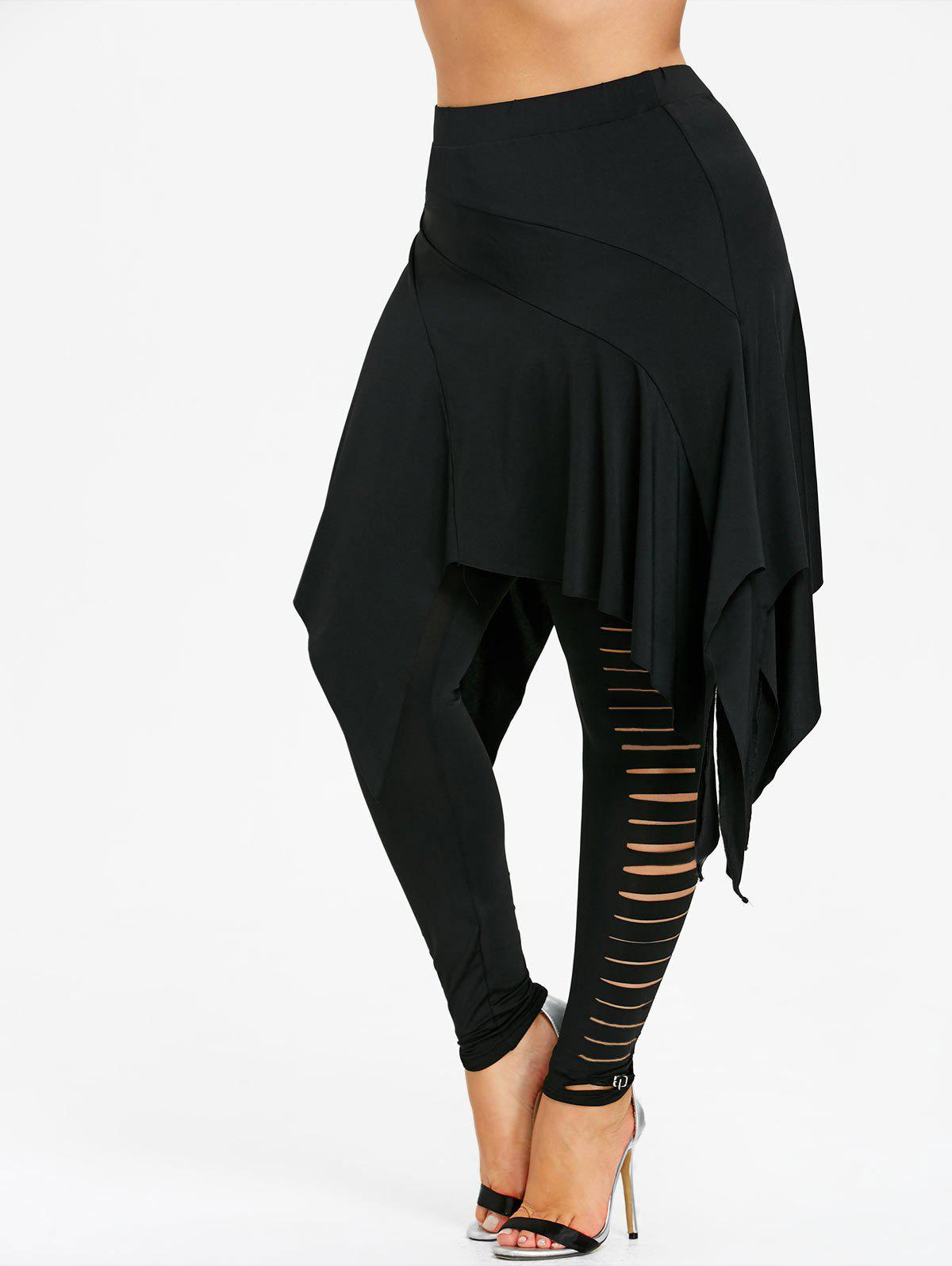 Sale Plus Size Ladder Shredding Handkerchief Skirted Leggings