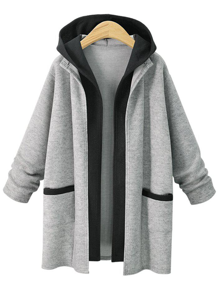 Online Plus Size False Two Hooded Coat