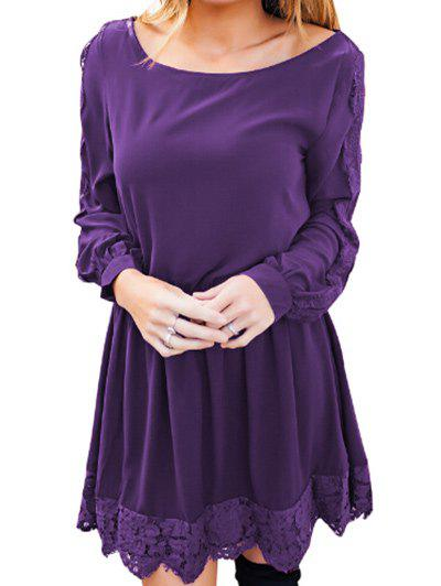 Discount Lace Panel Elastic Waist Long Sleeve Dress