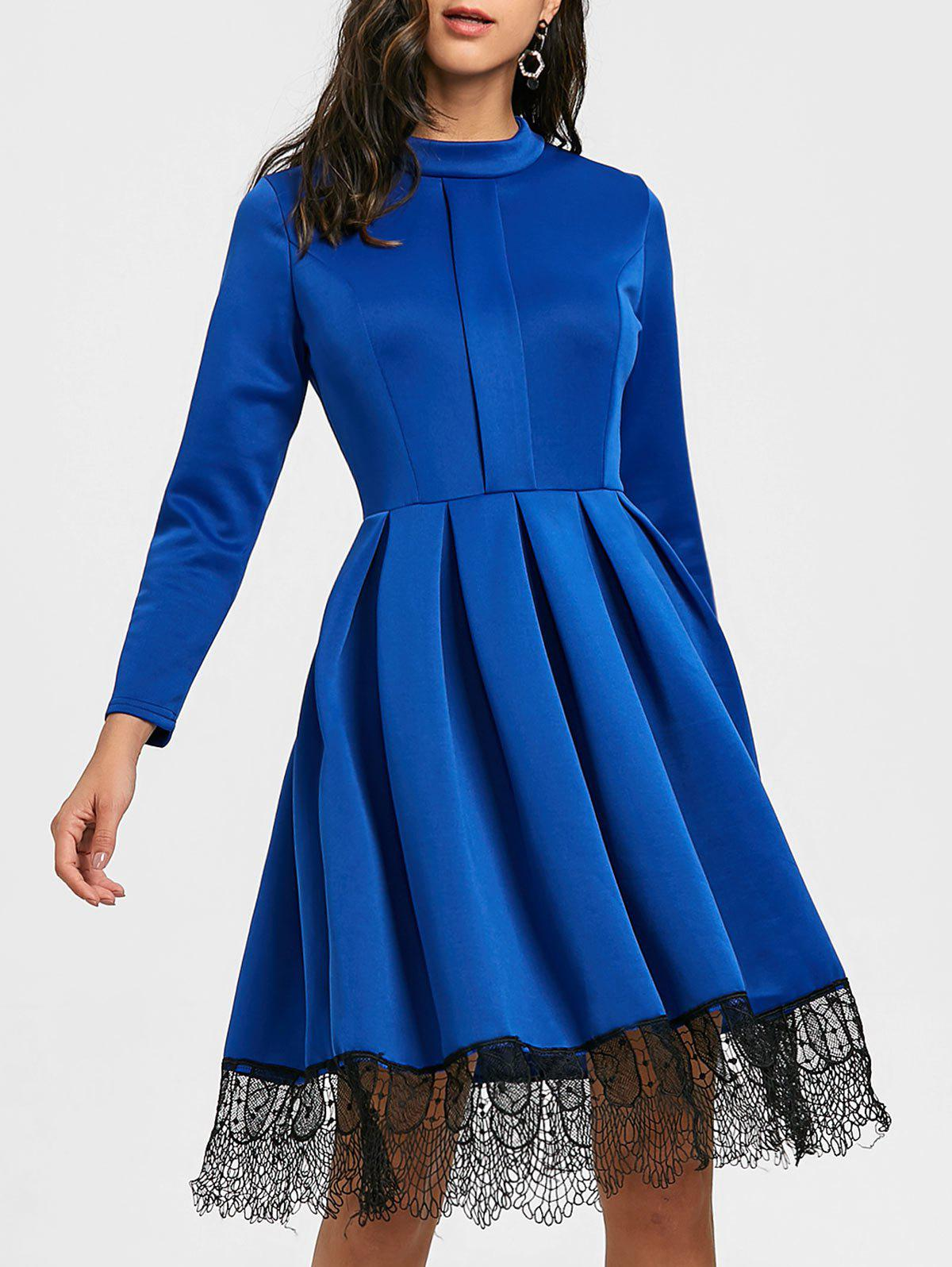 Fashion Long Sleeve Pleated Lace Trimmed Dress