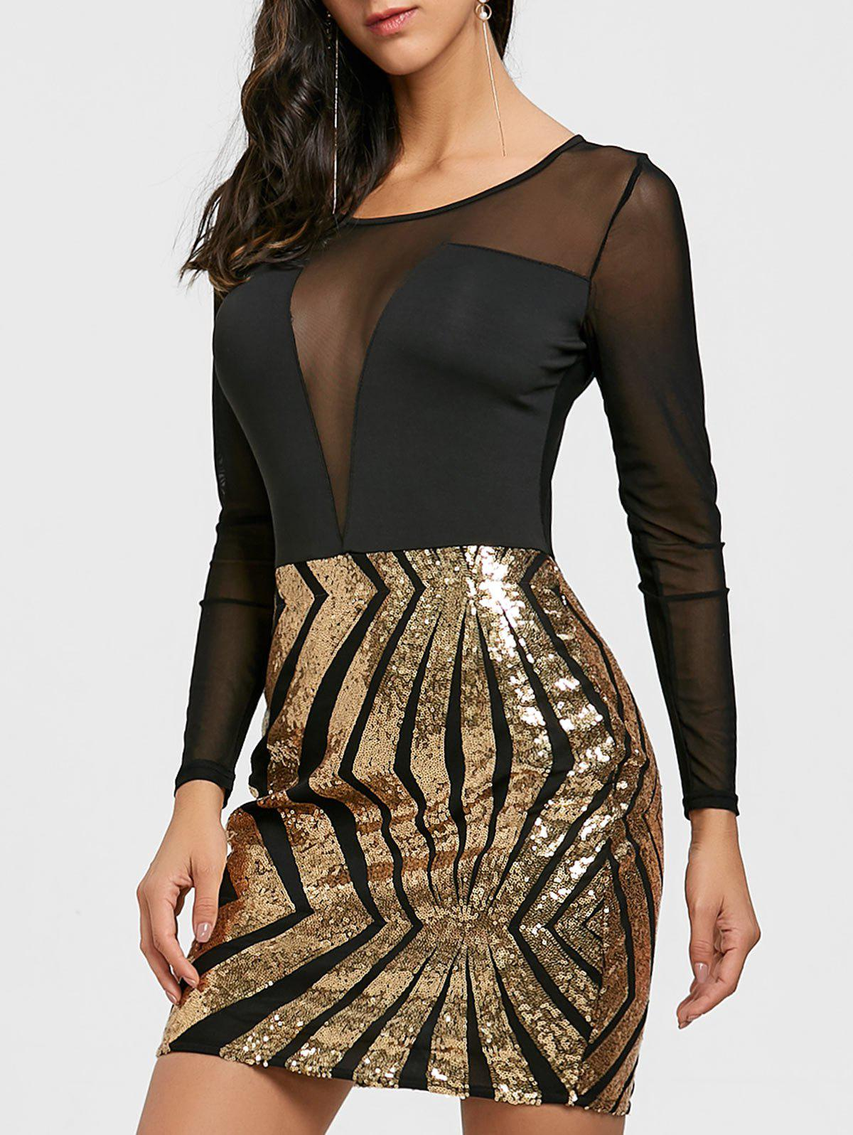Unique Sheer Mesh Panel Sequin Dress