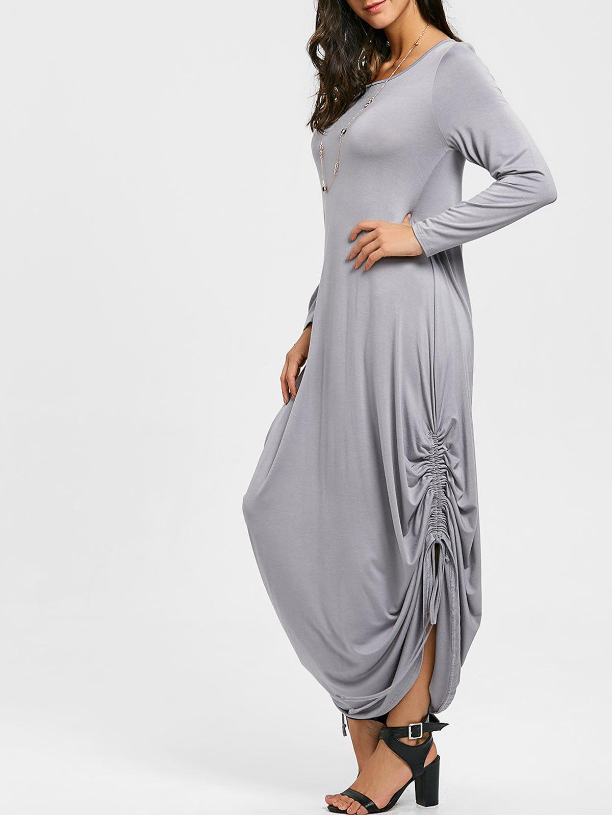 Fashion Drawstring Jersey Cocoon Maxi Dress