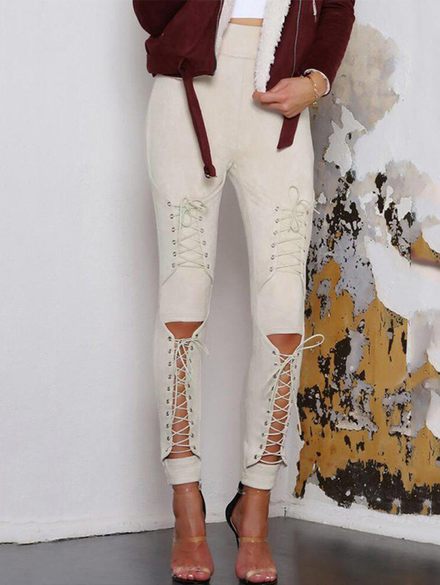Store Cut Out Lace Up Faux Suede Pants