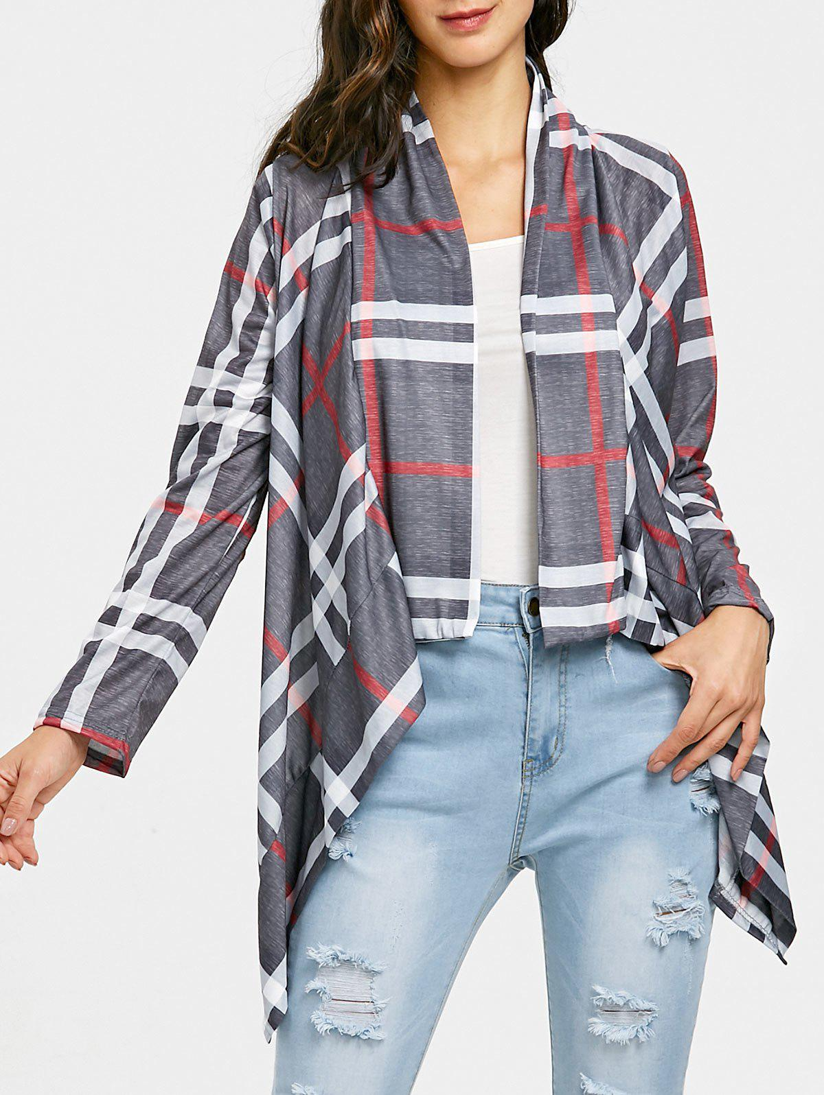 Affordable Plaid Elbow Patch Draped Front Cardigan