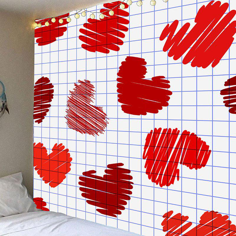Affordable Valentine's Day Grid Heart Pattern Wall Hanging Tapestry