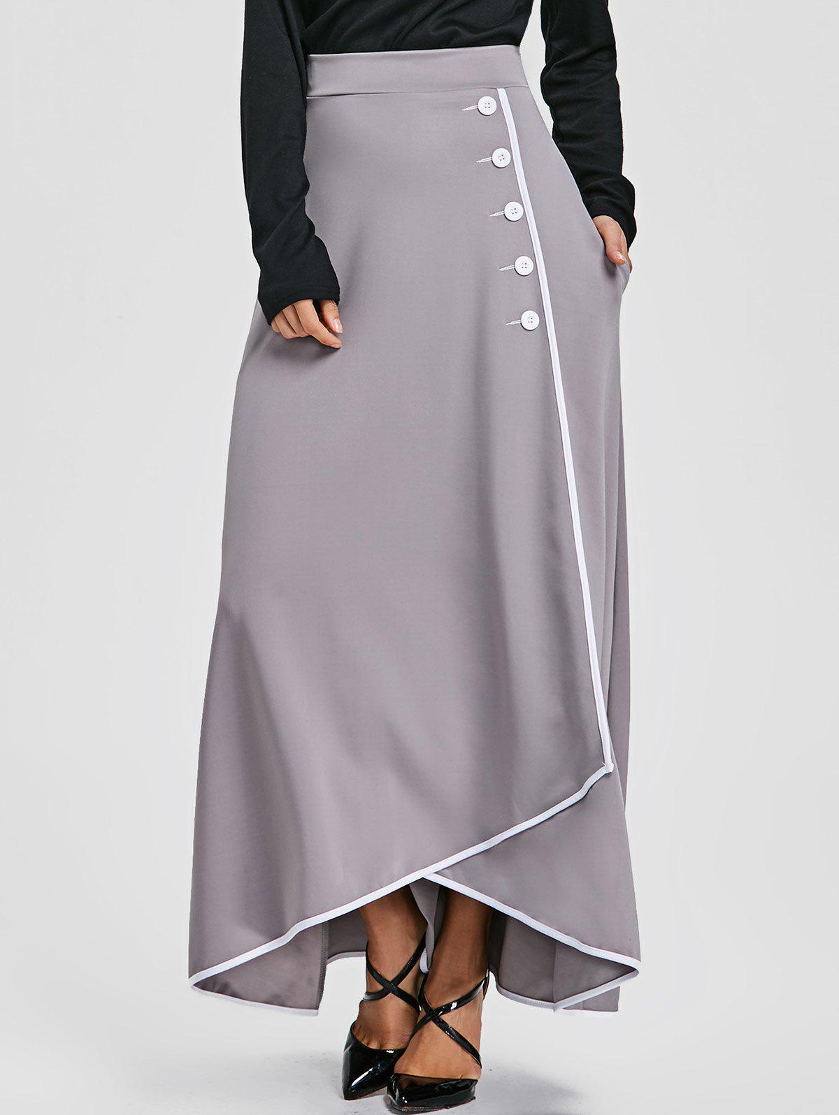 Shop Buttons High Waist Asymmetric Maxi Skirt