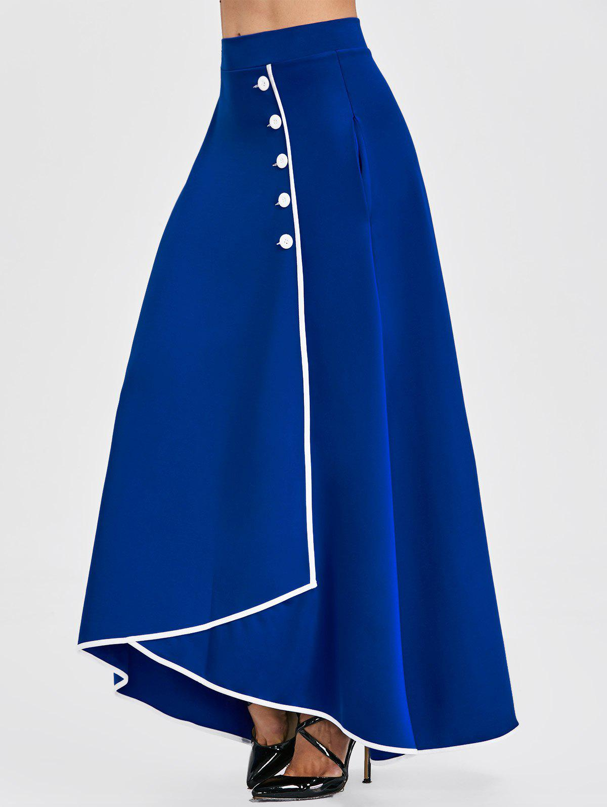 Unique Buttons High Waist Asymmetric Maxi Skirt
