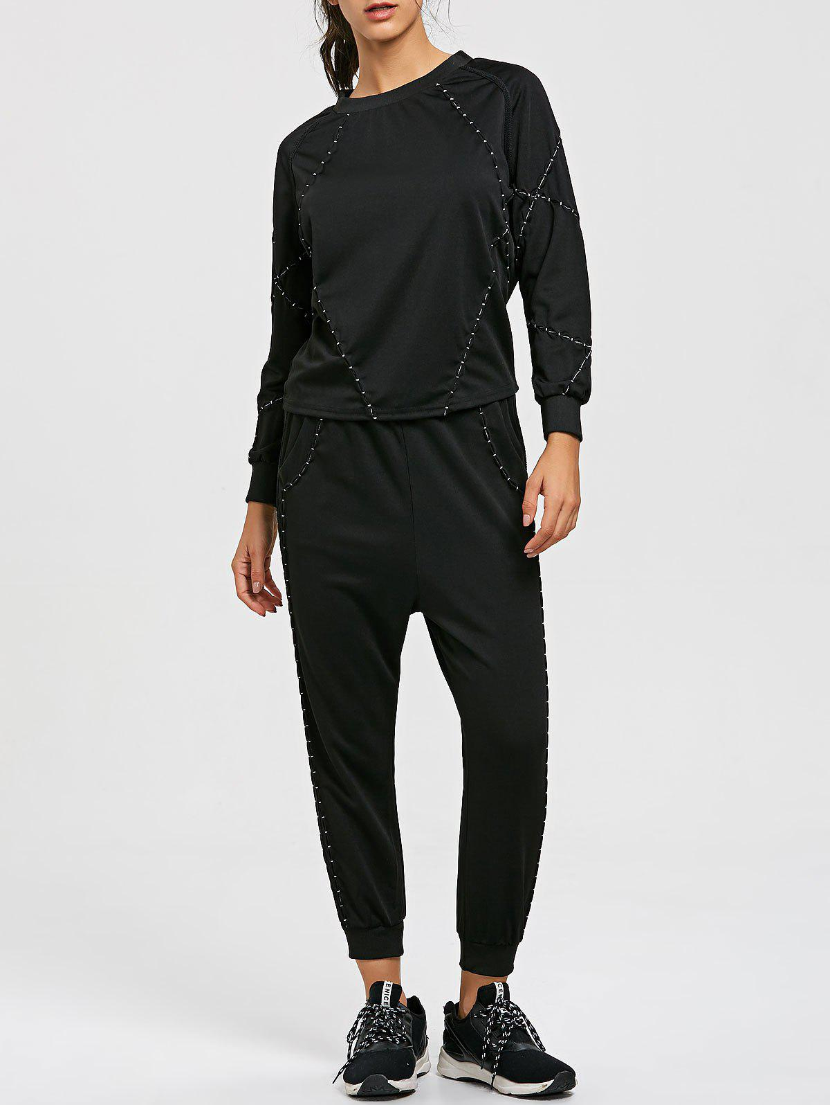 Store Raglan Sleeve Sweatshirt and Drawstring Jogger Pants Sport Suit