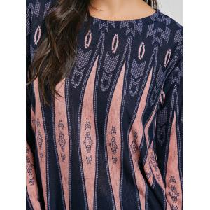 Long Sleeve Geometric Print Tunic Knit Top -