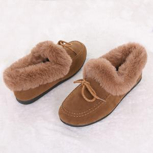 Bowknot Front Faux Fur Collar Flat Shoes -