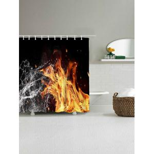 Fire and Water Print Polyester Waterproof Shower Curtain -