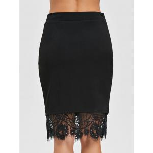 Eyelash Lace Trimmed Slit Bodycon Skirt -