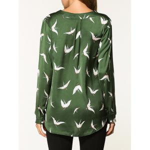 V Neck Birds Pattern Shirt -