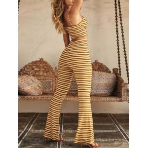 Spaghetti Strap Crop Top + Striped Pants Suit -
