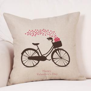 Bike Hearts Print Valentine's Day Decorative Linen Pillowcase -