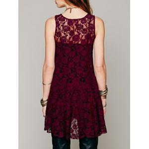 Sleeveless Scoop Neck Lace Dress -